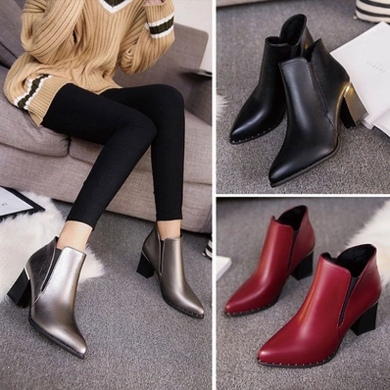 2017 Spring Women Shoes Chelsea Boots PU Buckle Ankle Black Bottom Boots Cheap China Female Sliver Boots Red Woman Shoes SFCB002(China (Mainland))