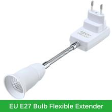 Universal E27 Flexible Extender LED Light Bulb Base Accessories Bulb Holder Stent Socket Adapter Converter EU Plug with a Switch