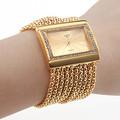 Fashion High Quality Women Rhinestone Watches Gold With Crystal Alloy Quartz Watch Adjustable Wristwatch