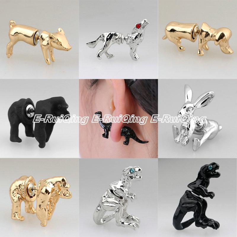 1Pair Fashion 18 Styles Gold Silver Black 3D Lovely Dog Dinosaur Pig Gorilla Rabbit Wolf Animals Stud Earring Women Girl Jewelry(China (Mainland))