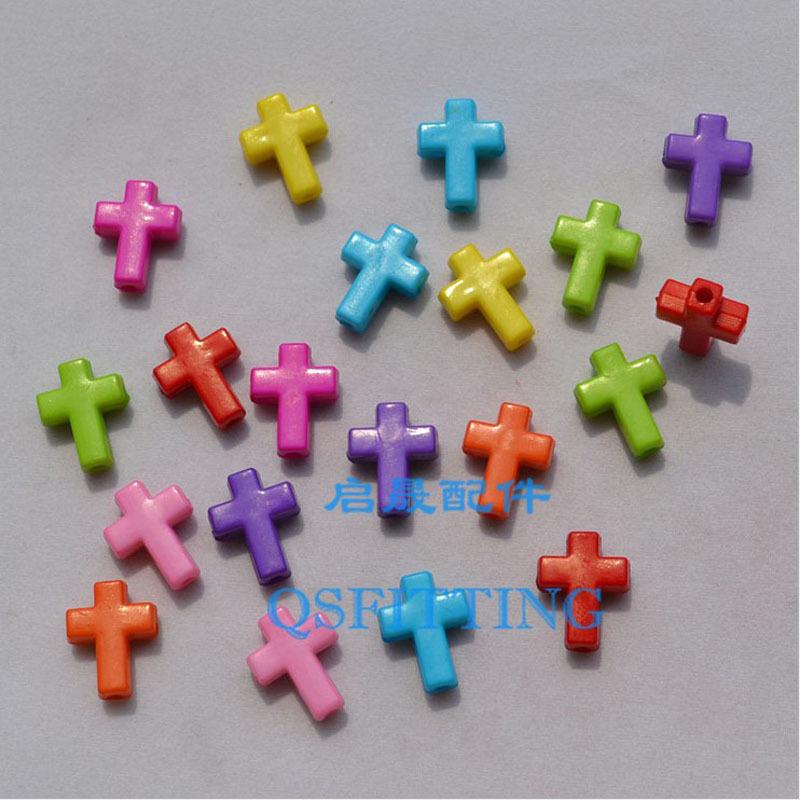 supply DIY fashion jewelry Accessory,Acrylic Beads,15*9MM Acrylic Cross,Cross Beads,mix color(China (Mainland))