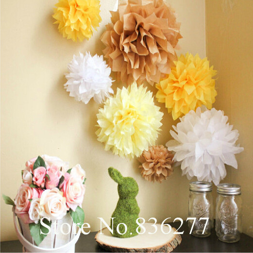 "15pcs mixed 3 sizes (5"",6"",8"") Tissue Paper Pom Poms Flower Balls, Wedding Pom Poms, Baby Shower, Nursery, Wedding Decoration(China (Mainland))"