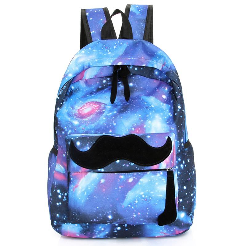 Galaxy Stars Universe Space printing canvas backpack School bag Women mustache Backpacks bag mochila free shipping L7-90<br><br>Aliexpress