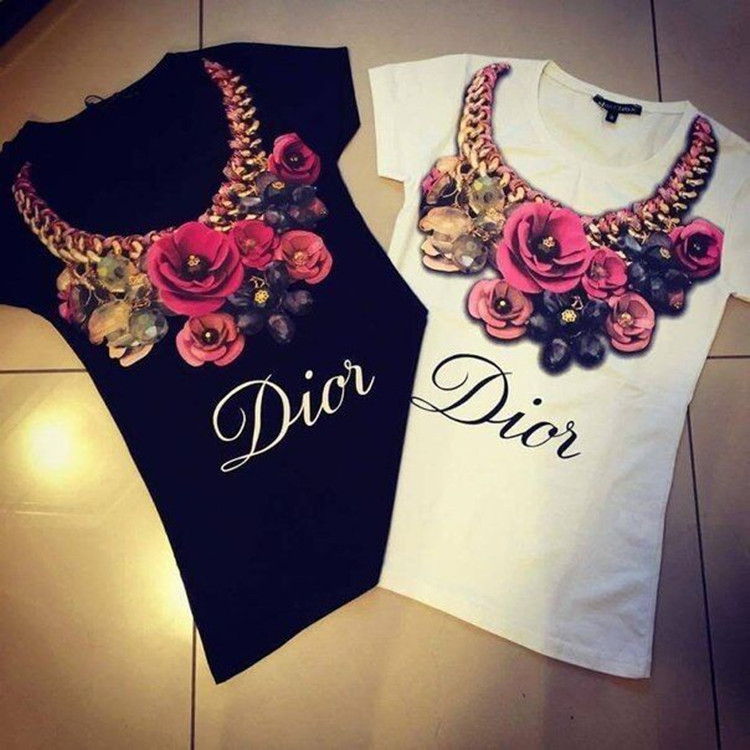 2015 New Summer Women's T shirt Short Sleeve Tops Tees For Women Ladies Fashion Necklace Flower Print Tshirt Cotton Women Shirts(China (Mainland))