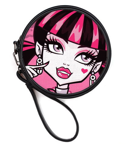 Big eyes red lips Monster high cartoon figure Draculaura printed Round Makeup Bag first-class quality PU leather Cosmetic Bags F(China (Mainland))