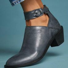 Kadınlar Vintage tıknaz topuk bahar sonbahar yarım çizmeler bayanlar moda taklit süet ayakkabı kadın Zip yüksek kaliteli PU rahat artı boyutu(China)