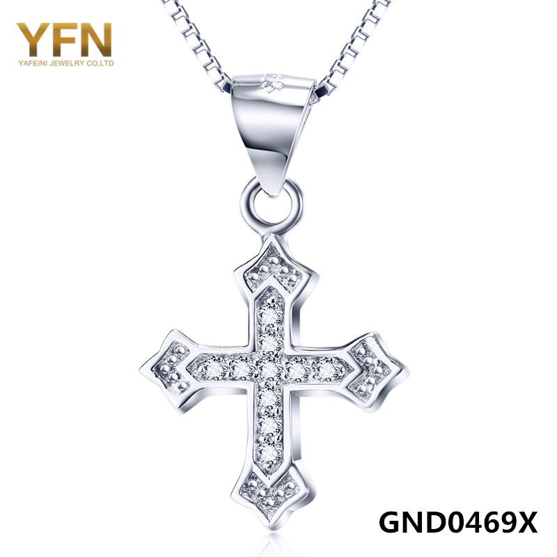 GND0469 New Arrival Cubic Zirconia Cross Pendant 925 Sterling Silver Fashion Necklace For Women Or Man Wholesale(China (Mainland))