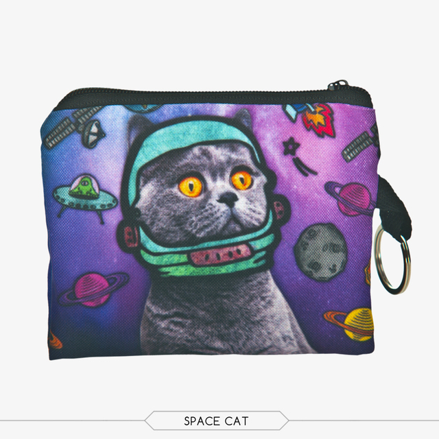 1 шт. 3D печать портмоне новый милый кот молния чехол женский макияж багги сумка ...