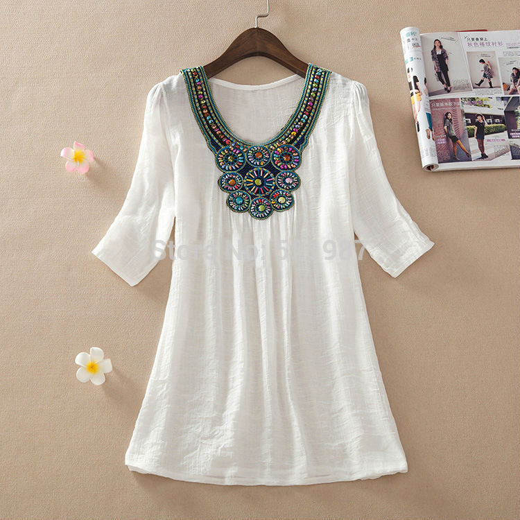 2016 Summer Style Women Short Sleeve Embroidered Beading