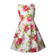 2015 Flower Poplin Flower Girls Dress 4 to 13Y Casual Hot Summer Dress for Girls