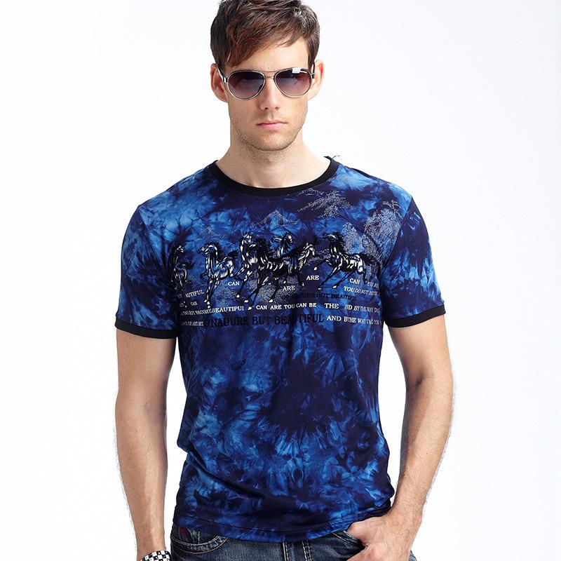 popular european style casual t shirt tie-dye 8 horse figure funny t shirts cotton summer mens short sleevesOriginal text