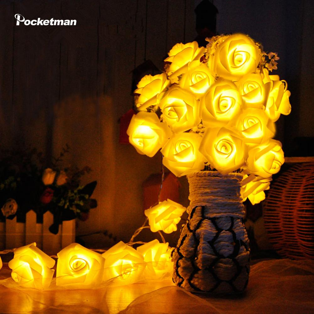 Night Light 20 x LED Novelty Rose Flower Fairy String Lights Wedding Garden Party Christmas Decoration Nightlight