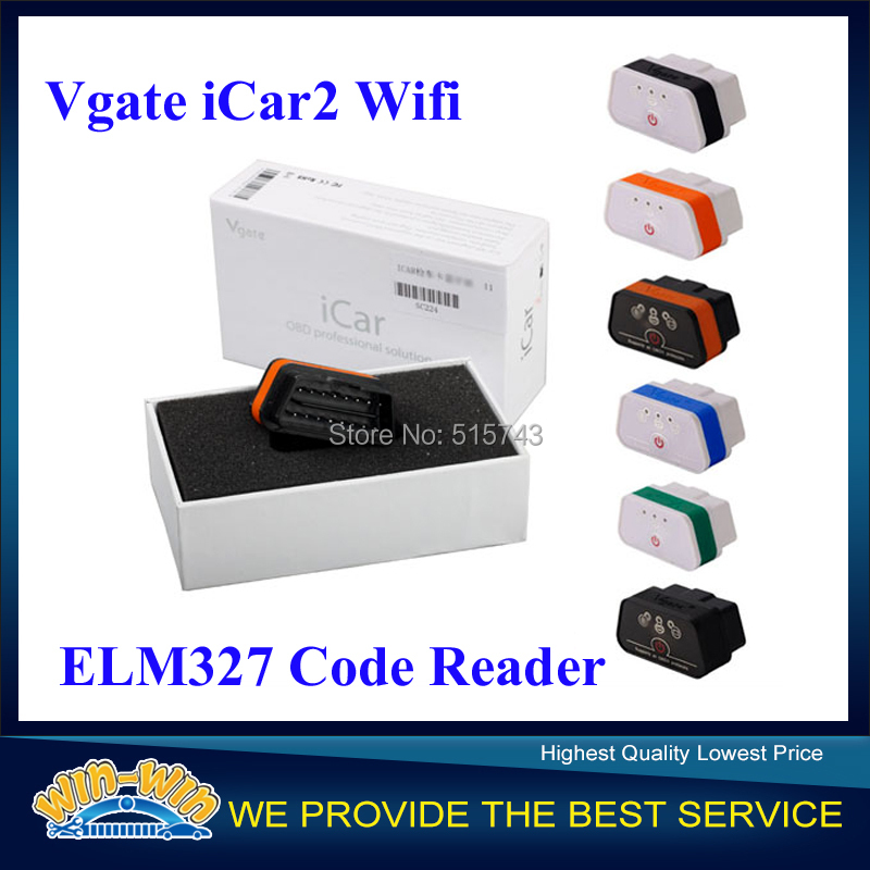 2015 New Arrival Vgate WiFi iCar2 OBDII ELM327 iCar2 Wifi Vgate OBD Diagnostic Interface for IOS / Android 6 colors(China (Mainland))