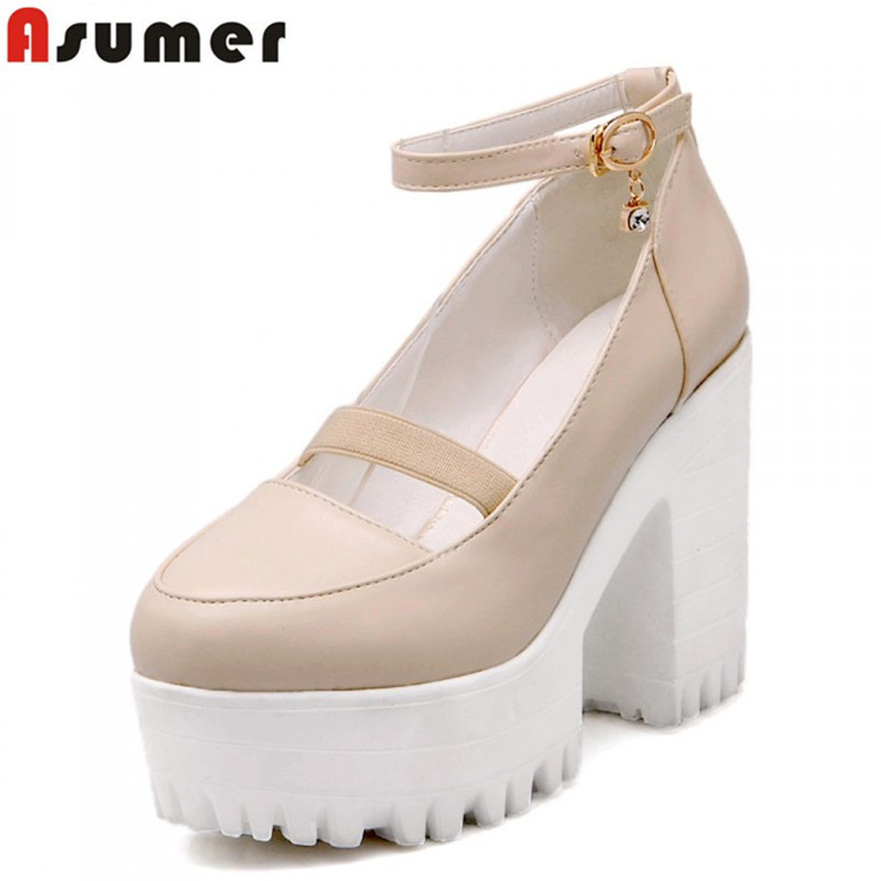 AISIMI 2015 fashion women pumps sexy high quality personality round toe thick heels unique wedding shoes prom shoes summer pumps