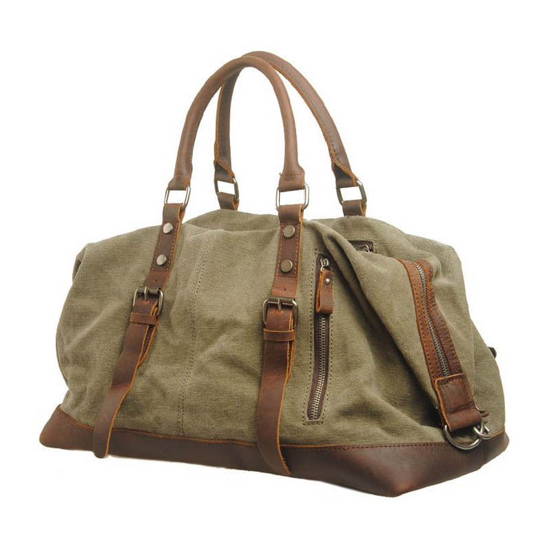 Large Capacity Vintage Military Leather Canvas Luggage Travel Bags Casual Sport Duffle Shoulder Bag Portable Tote Handbag(China (Mainland))