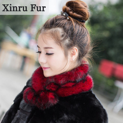 4 Colors Women Rabbit Fur Scarf Warm Luxury Real Fur Scarf 65cm Winter Hijab Bufandas Ring Scarves Fluffy Muffler(China (Mainland))