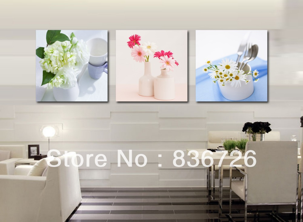 Free shipping 3 piece canvas wall art modern art wall for Dining room wall art canvas