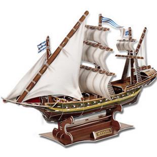 Diy three-dimensional jigsaw puzzle educational toys 3d assembling model aircraft vintage ship ancient boat free shipping(China (Mainland))