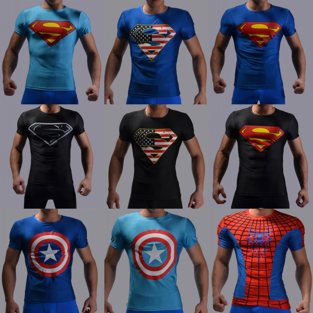 2016 New Sport Fitness Compression Shirt Men Superman Good Bodybuilding Short Sleeve T Shirt Gym Crossfit Running Tops Shirts(China (Mainland))