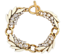 Vintage Garland Bracelet Full Rhinestone Leaf Pattern Bracelet 2014 New Fashion Statement Bracelet & Bangle BJB905942(China (Mainland))