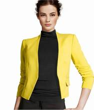 Womens Blazer New 2015 Chic Basic Solid Color Fashion Women Sleeve Pockets None Button Woman Slim Short Suit Jacket 0121