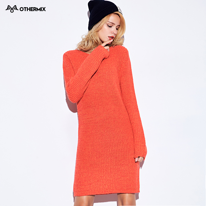 Othermix New autumn and winter 2015 fashion round neck knit cuffs irregular long-sleeved dress
