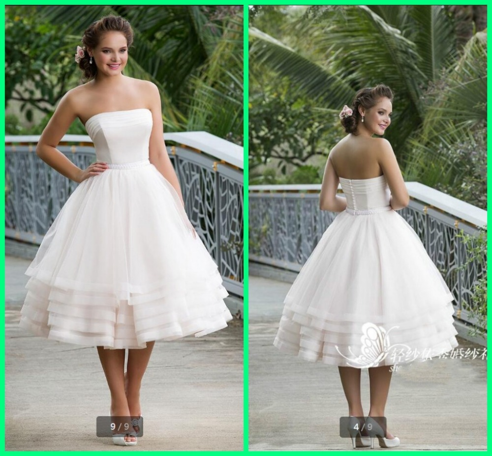 Stylish a line white petite mid length wedding dresses for Midi length wedding dress