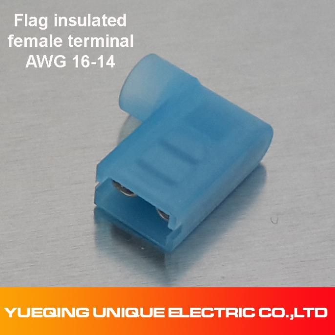 50 Blue NYLON Fully Insulated FLAG Terminal Connectors 16-14 Wire .250 Fem(China (Mainland))
