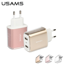 Buy USAMS Fast Travel Charger Adapter Dual USB 5V 3.4A Universal Charger phone US EU Charger USB Wall Charger iPhone ipad for $8.99 in AliExpress store