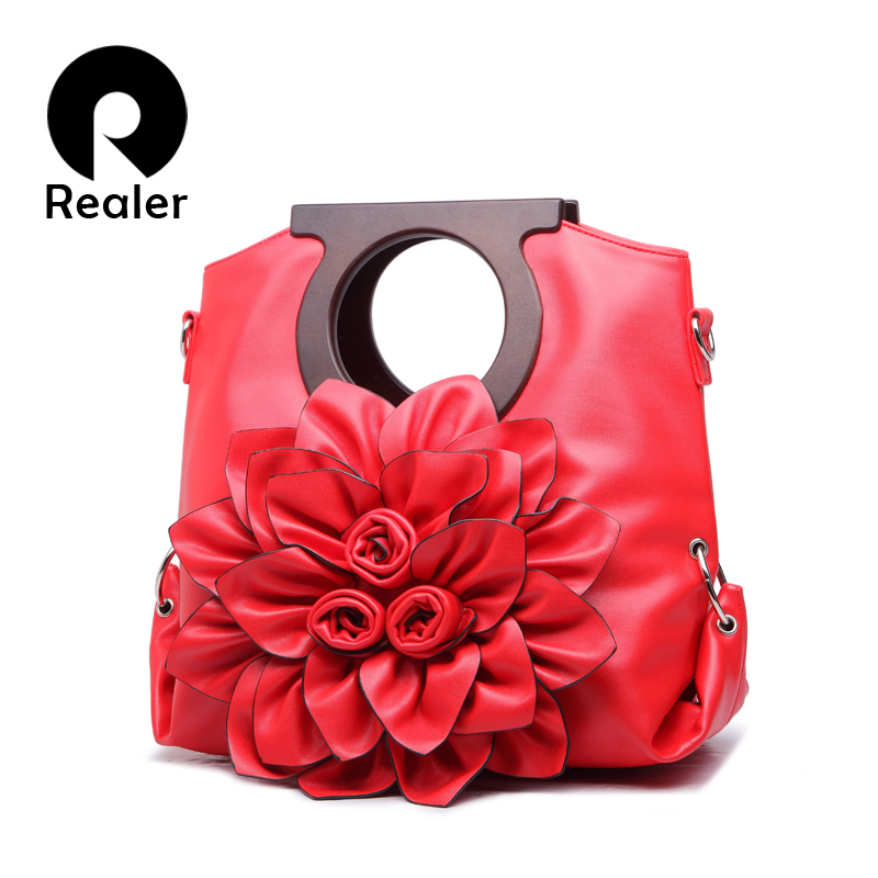 New 2016 Designer Women Floral Handbags Pretty Laides Leather Flower Tote Bags Shoulder Bags For Women(China (Mainland))