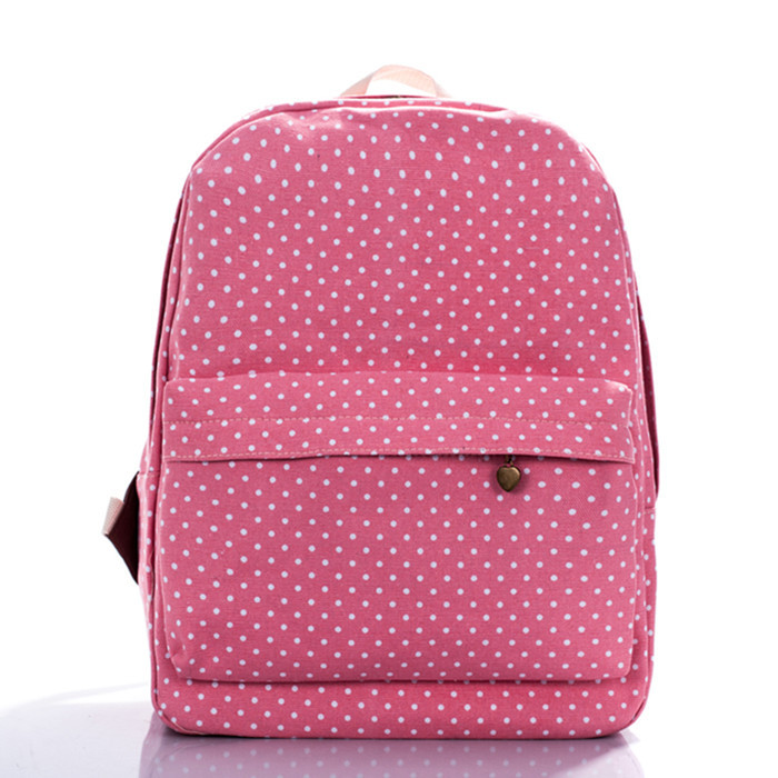 Pink dots backpack classic campus girls fashion bags leisure bag travel package primary secondary schools - jian ye's store