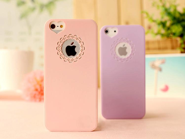 Гаджет  Cute candy Color Loving Heart Flower Lace Hard Phone Case Cover For Iphone 5 5s 5g+ To USA Franch Drop shipping None Телефоны и Телекоммуникации