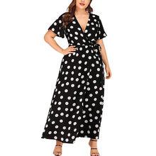 Plus ขนาดชุดผู้หญิง Dot พิมพ์ Maxi ชุดยาว(China)