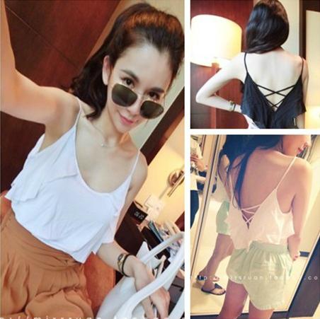 Fashion normic all-match beautiful strap racerback sleeve ruffle spaghetti strap small vest w47