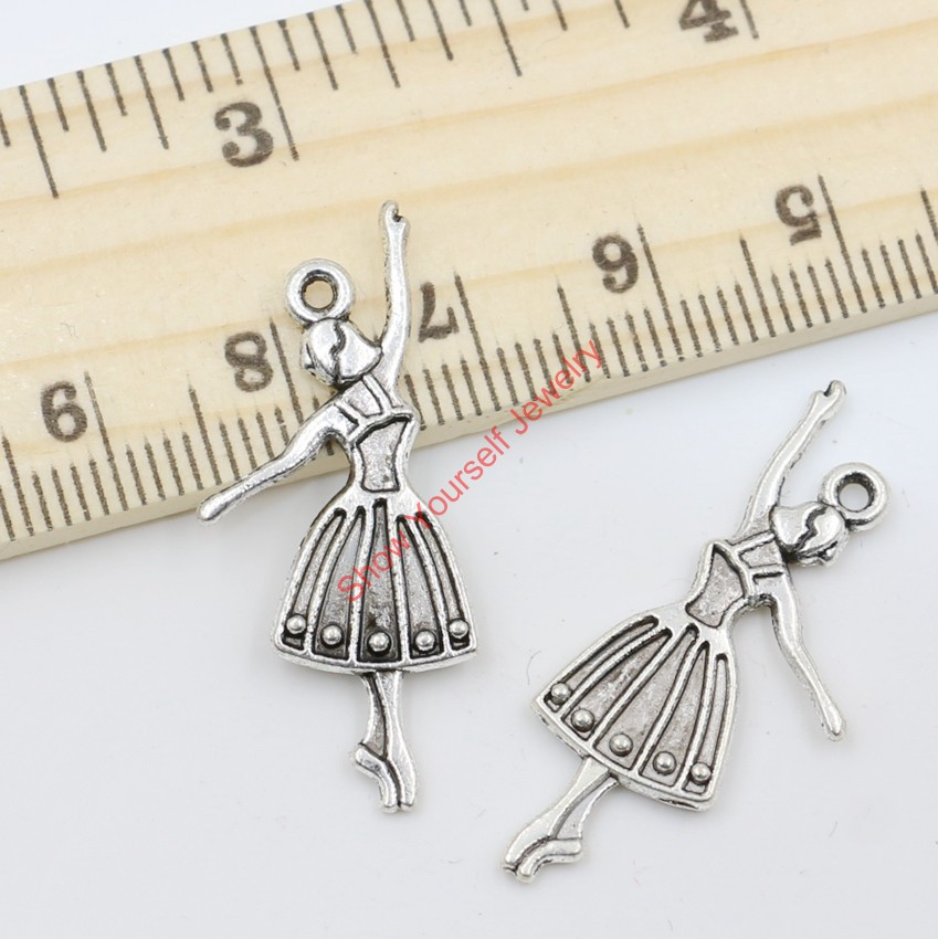 20pcs Wholesale Antique Silver Plated Dancer Charms Beads Pendants for Jewelry Making DIY Handmade 32x13mm A217(China (Mainland))
