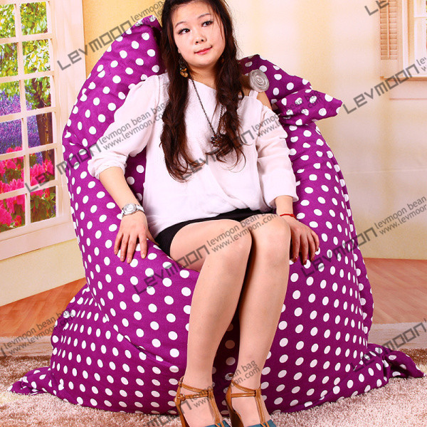 Фотография FREE SHIPPING 140*180CM purple color white dot bean bags 100% cotton living room bean bags large bean bag chair cover