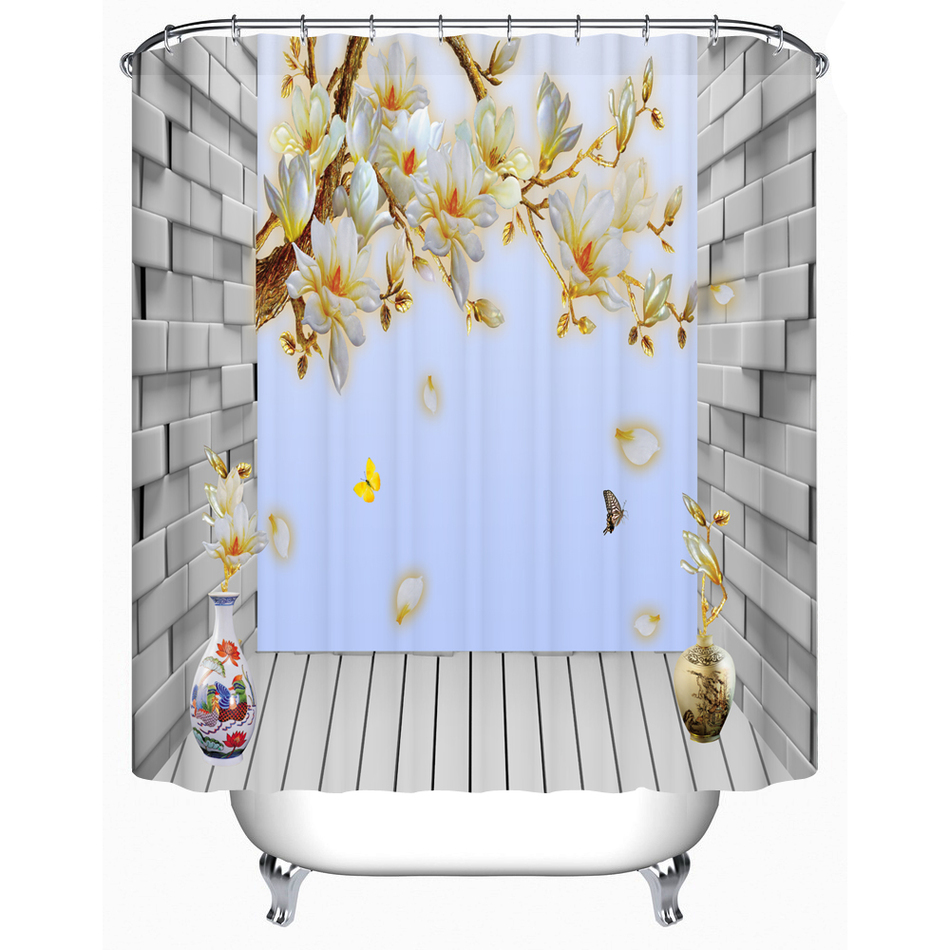 Waterproof Fabric Shower Curtain 3D Flower Shower Curtain High Quality Eco-Friendly Bathroom Products FJ-085(China (Mainland))