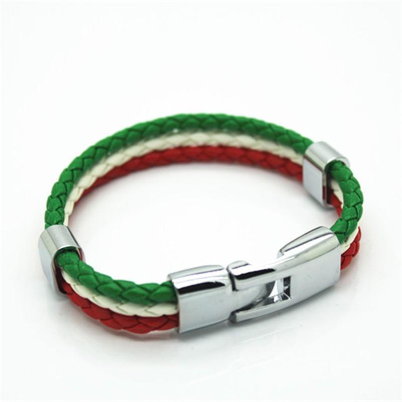 Итальянский цветов флага панк стиль Кожа PU является высокотехнологичным и высокосортным продуктом. Этот продукт имитирует строение кожи, для его изготовления применяется сверхтонкое волокно и высокосортный полиуретан , производится по новой технологии. Кожа с покрытием PU это внутренние вт кожаный браслет мужчины