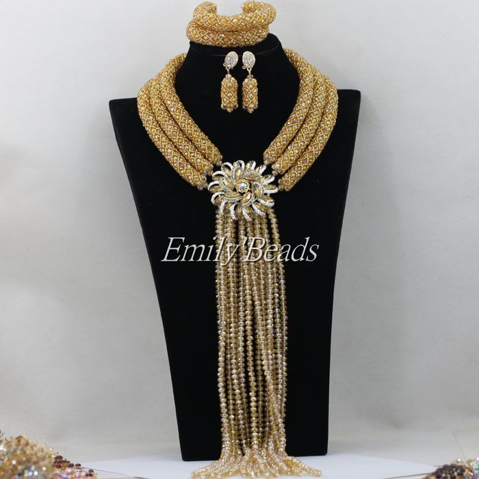 2015 New African Bridal Necklace Jewelry Set Nigerian Wedding Champagne Gold Crystal Beads Jewelry Sets Free Shipping AMJ963<br><br>Aliexpress