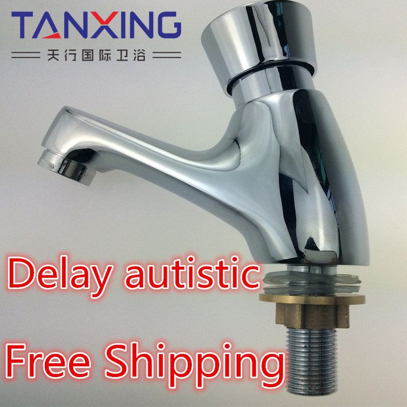2016 Lanos Torneira Banheiro Bathroom Sink Faucet Copper Single Cold Press Type Basin Faucet Delay Valve Wash In Public Places(China (Mainland))