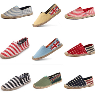 women and men espadrilles alpargata canvas shoes flag patten sapatos flat loafers plus size for summer