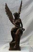 Бронзовый Чистая Медь Старый Цин мин Латунь Статуя Индуистского Бога Латуни Бронзовый Крылатая Победа Леди Богиня Афина Nike Скульптура Статуя