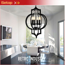 Buy ZX Free Retro Iron Candle LED Chandelier American Industrial Unbreakable E14 Bulbs Lantern Lights D42xH56cm Lamp for $226.30 in AliExpress store