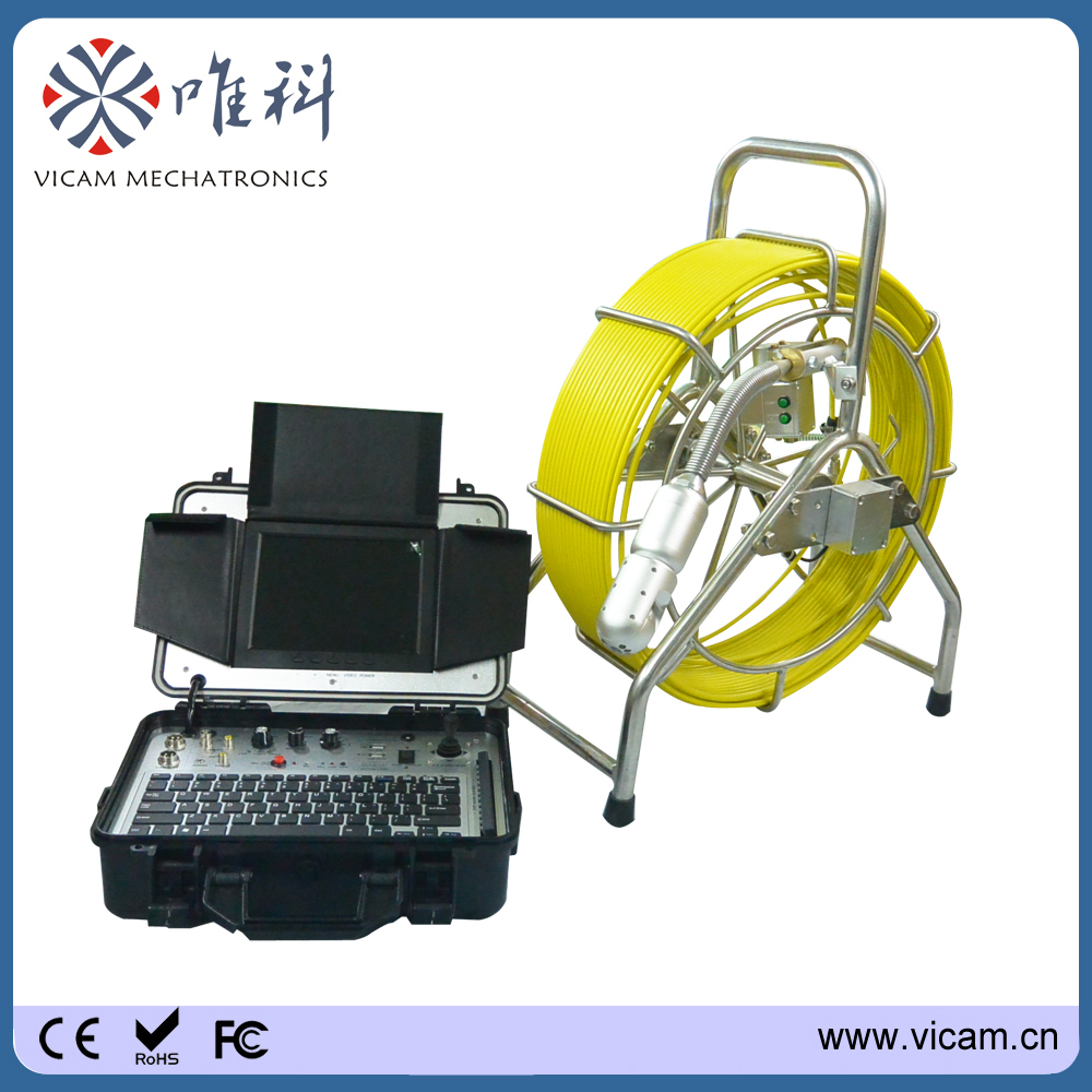 Real color Sewer pipeline drain Inspection System Equipment 60m push rod wheel reel(China (Mainland))