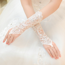 Wedding Gloves New Fashion Lace Bridal Gloves Beading Opera Gloves free Shipping Wedding Accessories Hot Sale(China (Mainland))