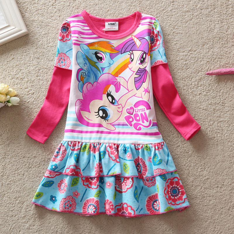 2016 Baby Girls Summer Dress Long Sleeve Children Clothes Cartoon Printed Little Pony Pattern Casual Girl Kids dress(China (Mainland))