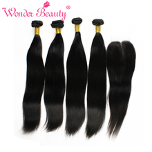 Unprocessed Indian Virgin Hair With Closures Straight 4 bundles With Lace Closures 100% Indian Human Hair Weaves Extensions(China (Mainland))