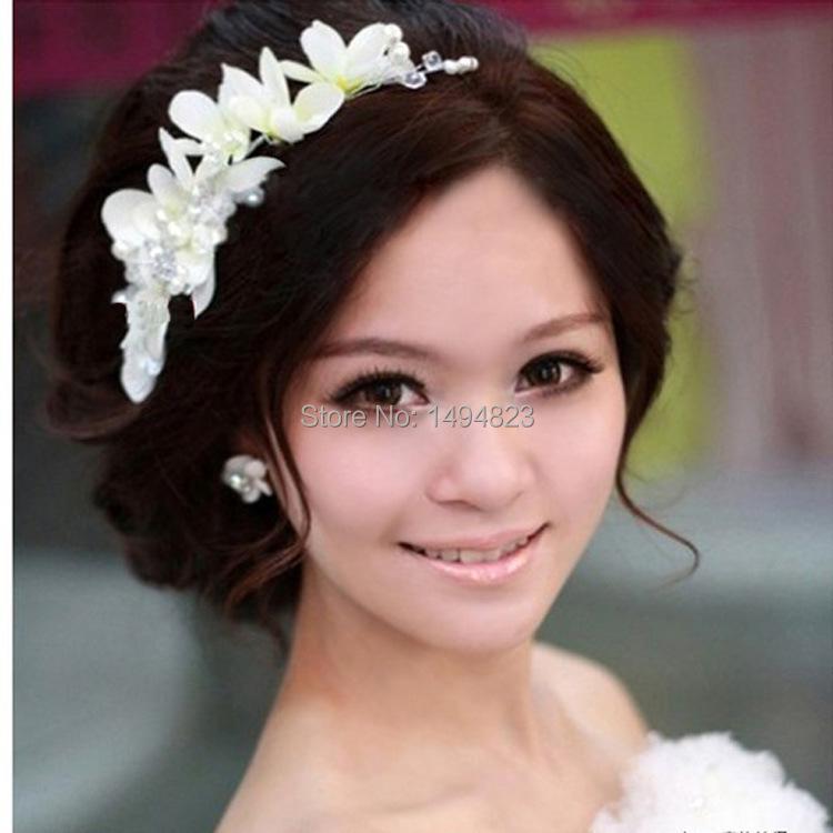 Korean pearl cotton flower headband haandmade bride headdress white / Red Rhinestone headpiece headwear CA06(China (Mainland))