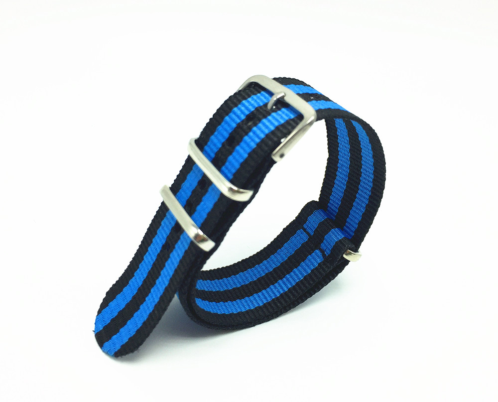 22mm Blue/Black Striped Stainless Steel Buckle Nato Nylon Strap Interchangeable Replacement Watchband(China (Mainland))