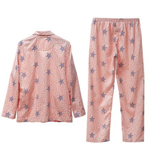The new song Riel fashion printed long sleeve pajamas for men and women couple home service
